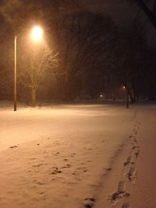 A Peaceful, Snowy, Night Walk