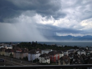 The view from our new apartment - a storm rolling in across Lac Léman.